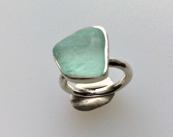 Sea foam sea glass individual silver ring