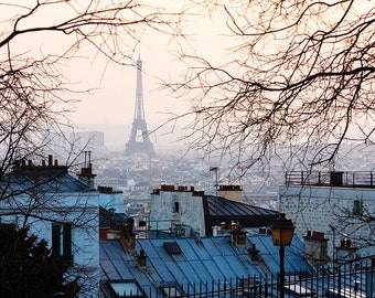 Best Seller, Paris Photography, Sunset in Montmartre, Parisian Rooftops, Eiffel tower, French Decor, Winter in Paris, Rebecca Plotnick