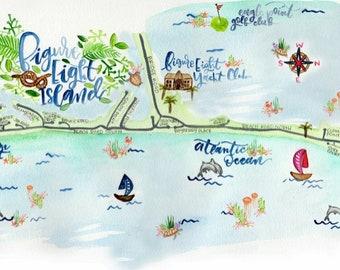 custom illustrated watercolor map