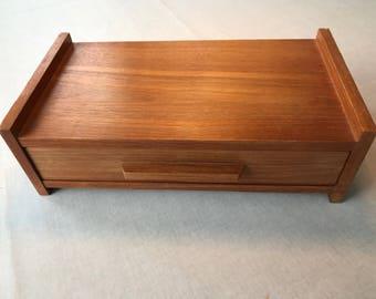 DANISH MODERN Little Original Rare Vintage, Used Wall Hanging Varnished Teak Wood Veneer Shelf with a Drawer / 60s