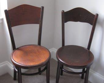 Two Vintage Fischel Bentwood Bistro Chairs 20th Century