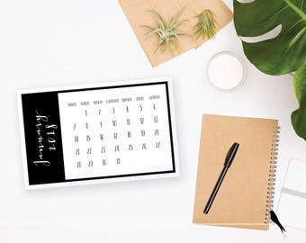 2018 Printable Monthly Calendar - Wall or Desk Calendar - Home or Office organizing - 2018 Instant Download Calendar