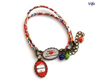 Gift teacher Bracelet liberty cabochons * thank you teacher *-* good * red, orange, green, blue, pink, white, adjustable