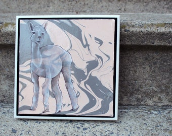 Pink & Gray Framed Alpaca Painting
