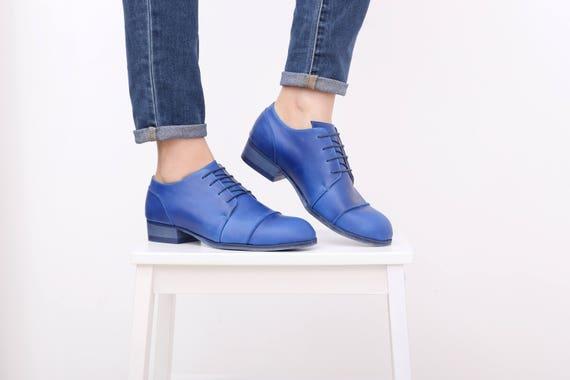 free women's shoes leather shoes shoes tie shipping ADIKILAV handmade womens Blue aOxTq1w8q