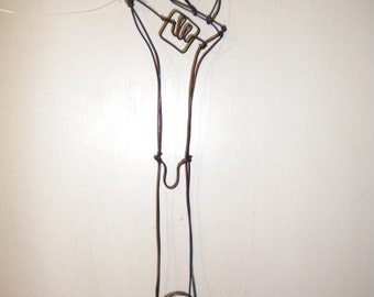 Wrench--3-D steel wire sculpture