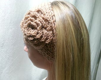 Camel wool headband embellished with a flower