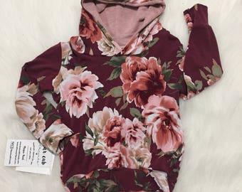 Floral pink Hoodie - Flower Hoodie - magenta Hooded Sweatshirt - Sweater - Baby Sweatshirt - Baby Hoodie - Toddler Sweatshirt - Flowers