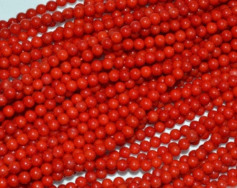 Red Coral Small Round Beads. Size 3.5mm and 4mm,  High Polished Full Strand 16'