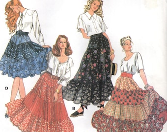 Simplicity 8624 TIERED SKIRTS Country Flair ©1993 Broomstick Crinkling Instructons