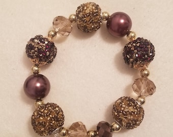 Brown and Gold Stretch Bracelet