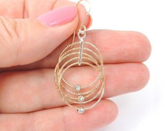 14K Gold Filled and Sterling silver 925 Laser Beads Dangle Multiple Circle Simple Hammered Hoop Long Earrings - AL7