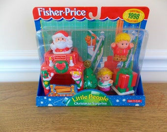 Fisher Price Little People Christmas Surprise, Santa, 1998 Collectible, Vintage Toy, Fisher Price Little People, Santa Claus, Chimney
