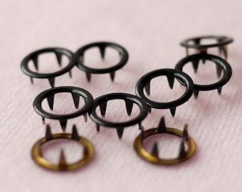 100 sets, Black (XM63) Open Prong Snap Button, Size 17L (10 mm)
