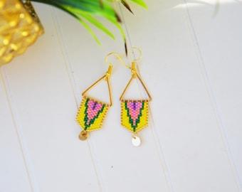 Earrings triangle brass and needle weaving beads miyuki yellow green pink and purple