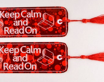 Keep Calm and Read On 2ITH traditional style book mark 4x4 machine embroidery design