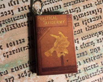 Practical Taxidermy Tiny Book Necklace, Brooche, or Keychain