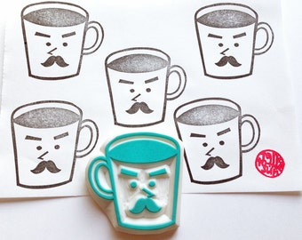 mr coffee cup rubber stamp | mug cup stamp | cafe coffee lovers | diy birthday card making | gift for him | hand carved by talktothesun