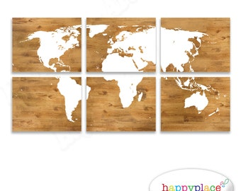 Light grey world map print canvas panels modern silver world world map print panels as printable digital files six 11x14inch jpeg images included wood background and large world map in white wall art gumiabroncs Image collections