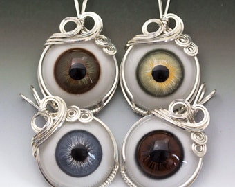 Hazel, Blue, Green, Brown, or Bobcat Glass Eye Eyeball Sterling Silver Wire Wrapped Pendant - Made to Order, Ships Fast!