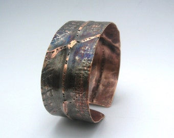 Textured folded copper and chrome cuff bracelet