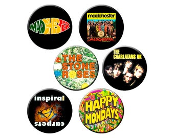"6 Badge Indie Pack #14 - Six 1.25"" Madchester Pin Set - 6 Quality Indie Music Pin-back Buttons"
