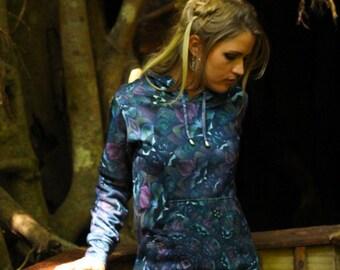 FRACTAL PETALS  Women's Pullover Hoodie sweatshirt / festival hoodie / art hoodie / fairy hoodie / mandala hoodie / purple sweatshirt