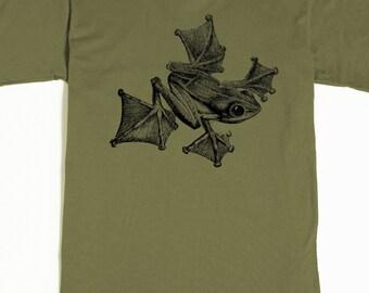 Frog T-shirt - Men's Shirt - Flying Frog Tee - Gliding Frog - Tropical Amphibian