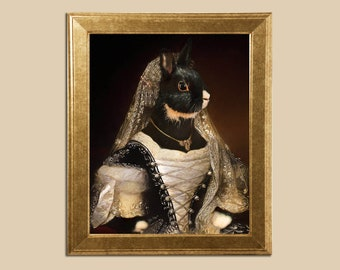 Pet portrait custom Regal pet portrait Personalized custom oil portrait Royal pet portrait Dog in Costume painting Regal pet portraits