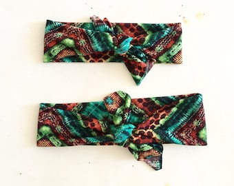 Top Knot Headband Matching Set, Mommy and Me, Headband Set, Green print