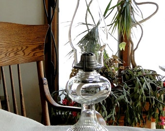 Oil Lamp with Rayed Base and Small Plain Font-Vintage 1920-50-Ready to Use