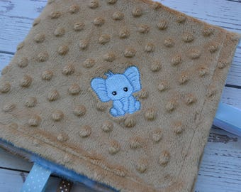 Security Blanket... Blue and Tan Minky Baby Blanket... Lovey Blanket... Minky Tag Blanket... Elephant Baby Blanket