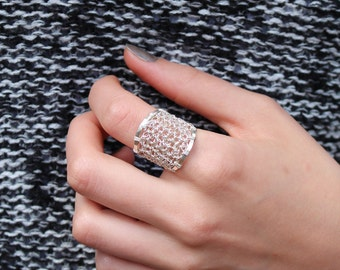 Crocheted  Argentium silver ring
