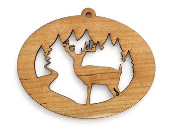 Buck Deer Ornament  - Made in the USA with sustainably harvested wood! - Timber Green Woods.