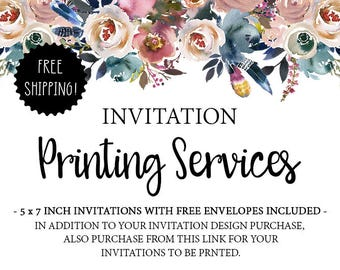 Professional Printing Service for Invitations -  Envelopes are Free! Ships to United States Only, Ships via USPS