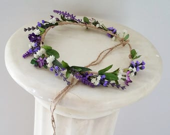 Flower crown violet Wedding lavender hair wreath Accessories Bridal Rustic Chic purple headpiece flower girl halo twine tie photo prop