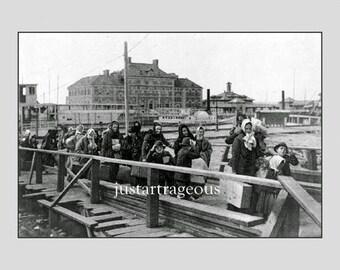"Ellis_island_1902. Immigrants entering the US through Ellis Island.  New Yorkharbor. 8 x 10"" premium Poster Paper"