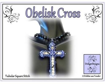Tila Beading Pattern, Tutorial, Beaded Cross - OBELISK
