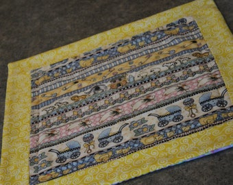 Yellow Blue Pink Baby Buggy Shower Square   15   X 15   Table Runner Topper