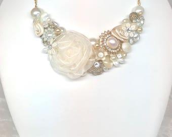 Gold Bridal Necklace- Statement Necklace- Ivory Bridal Necklace- Floral Bridal Bib- Ivory & Gold Necklace- Wedding Necklace- Brass Boheme