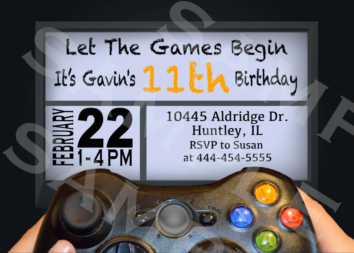 Video game birthday party invitation gamer theme invitation zoom monicamarmolfo Image collections
