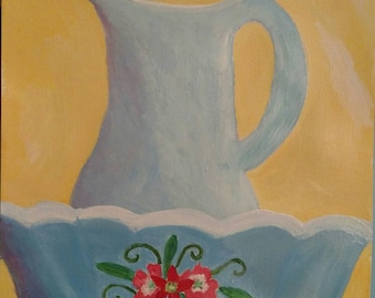 9x12 acrylic farmhouse kitchen old pitcher and bowl scene. OOAK hand painted.