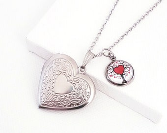 Mothers Day gift Heart locket necklace Tree of life necklace Photo locket necklace Silver locket Silver heart necklace Gift for her