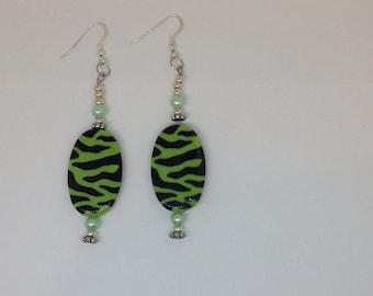 Green Animal Print Earrings