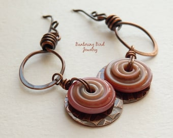 Caramel Swirl Spiral Earrings, Brown Lampwork Glass Disc and Textured Copper on Unusual Hoops, Artisan Hammered Copper Jewelry