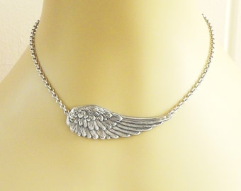 Steampunk Angel Wing Necklace Sterling Silver Ox Finish