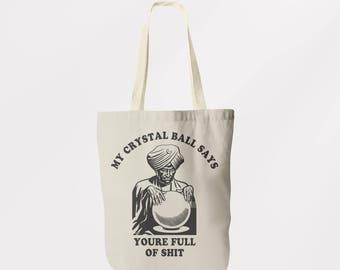Crystal Ball Tote Bag  / Shoulder Bag / Book Bag / Shopping Sachel / Graphic Logo Eco Friendly Bag