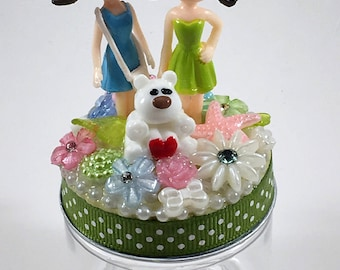 Assemblage Art Jar  --  Two Girls on the Town