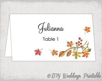 """Printable Place card template """"fall"""" name cards DIY Autumn woodland leaves Thanksgiving wedding place card templates Avery 5302 download"""
