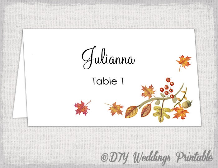 Printable Place Card Template Fall Name Cards DIY - Card template free: free wedding place card template